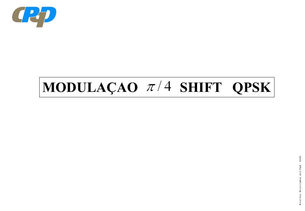 D i r e i t o s R e s e r v a d o s a o C P q D - 1 9 9 9 MODULAÇAO SHIFT QPSK