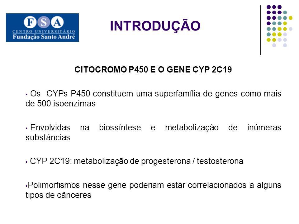 INTRODUÇÃO CITOCROMO P450 E O GENE CYP 2C19 Os CYPs P450 constituem uma superfamília de genes como mais de 500 isoenzimas Envolvidas na biossíntese e metabolização de inúmeras substâncias CYP 2C19: metabolização de progesterona / testosterona Polimorfismos nesse gene poderiam estar correlacionados a alguns tipos de cânceres