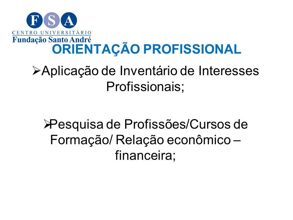ORIENTAÇÃO PROFISSIONAL Aplicação de Inventário de Interesses Profissionais; Pesquisa de Profissões/Cursos de Formação/ Relação econômico – financeira