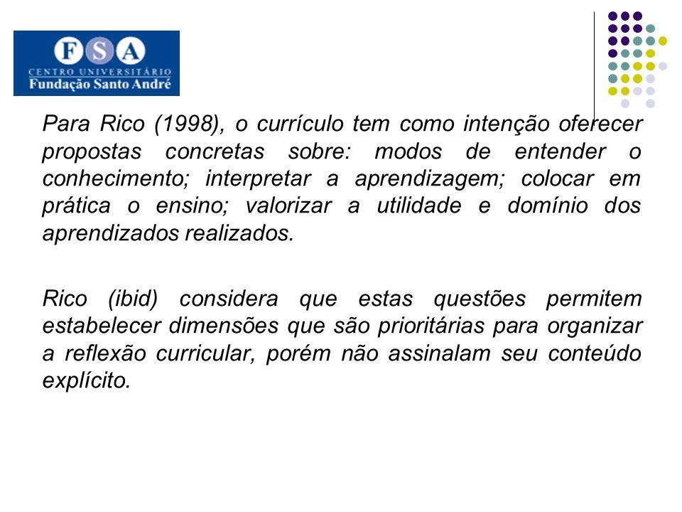 Para Rico (1998), o currículo tem como intenção oferecer propostas concretas sobre: modos de entender o conhecimento; interpretar a aprendizagem; colo