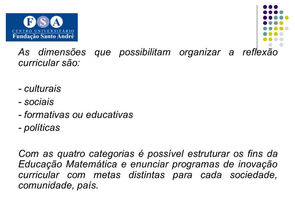 As dimensões que possibilitam organizar a reflexão curricular são: - culturais - sociais - formativas ou educativas - políticas Com as quatro categori
