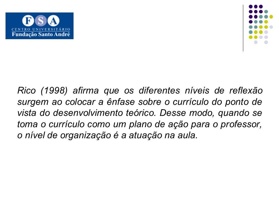 Rico (1998) afirma que os diferentes níveis de reflexão surgem ao colocar a ênfase sobre o currículo do ponto de vista do desenvolvimento teórico. Des