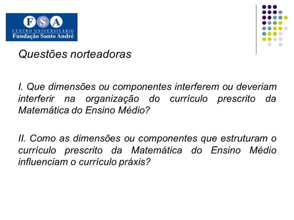 Questões norteadoras I. Que dimensões ou componentes interferem ou deveriam interferir na organização do currículo prescrito da Matemática do Ensino M