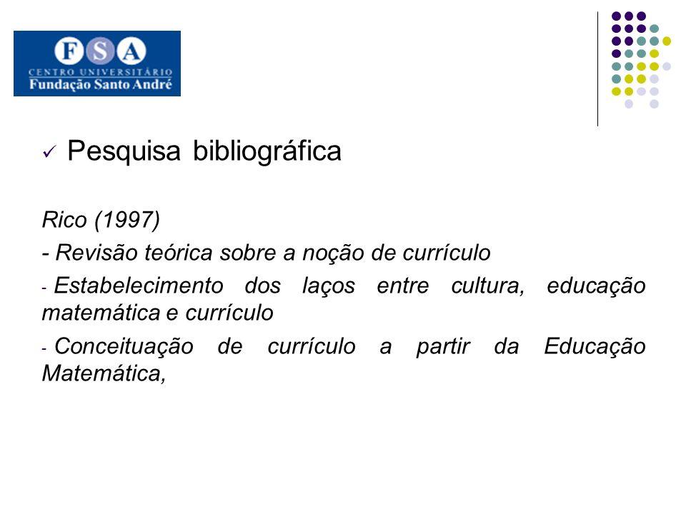 Pesquisa bibliográfica Rico (1997) - Revisão teórica sobre a noção de currículo - Estabelecimento dos laços entre cultura, educação matemática e currí