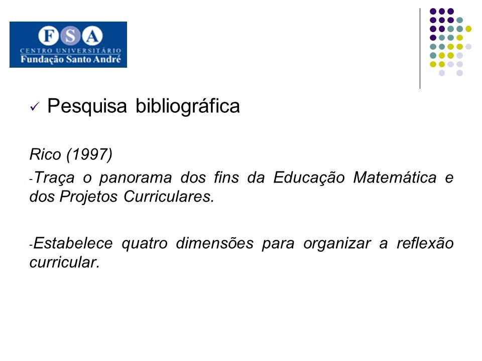 Pesquisa bibliográfica Rico (1997) - Traça o panorama dos fins da Educação Matemática e dos Projetos Curriculares. - Estabelece quatro dimensões para