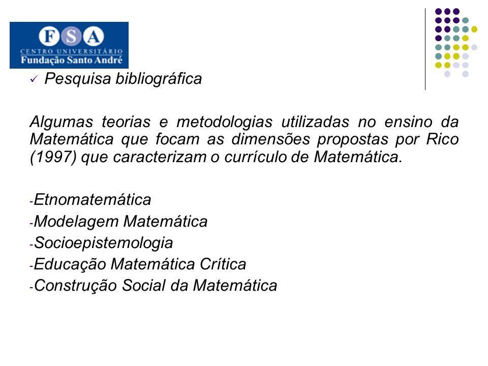 Pesquisa bibliográfica Algumas teorias e metodologias utilizadas no ensino da Matemática que focam as dimensões propostas por Rico (1997) que caracter