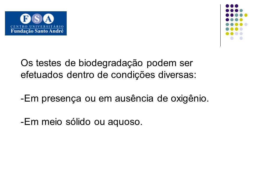 Os testes de biodegradação podem ser efetuados dentro de condições diversas: -Em presença ou em ausência de oxigênio. -Em meio sólido ou aquoso.
