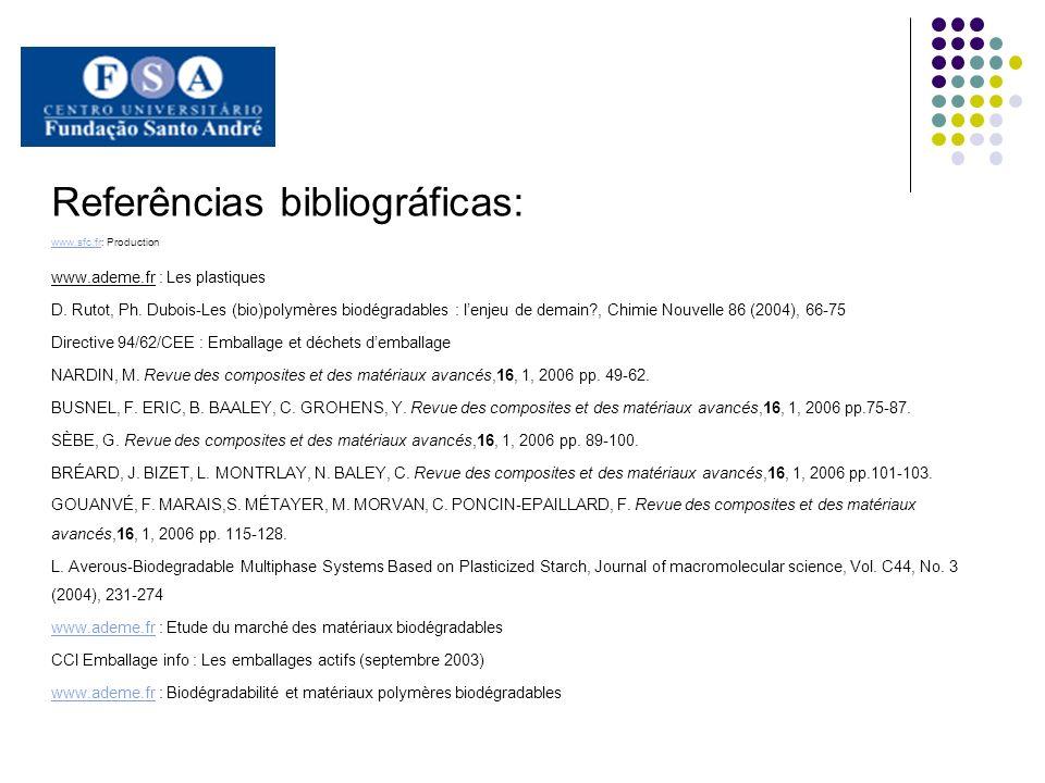 Referências bibliográficas: www.sfc.frwww.sfc.fr: Production www.ademe.fr : Les plastiques D. Rutot, Ph. Dubois-Les (bio)polymères biodégradables : le