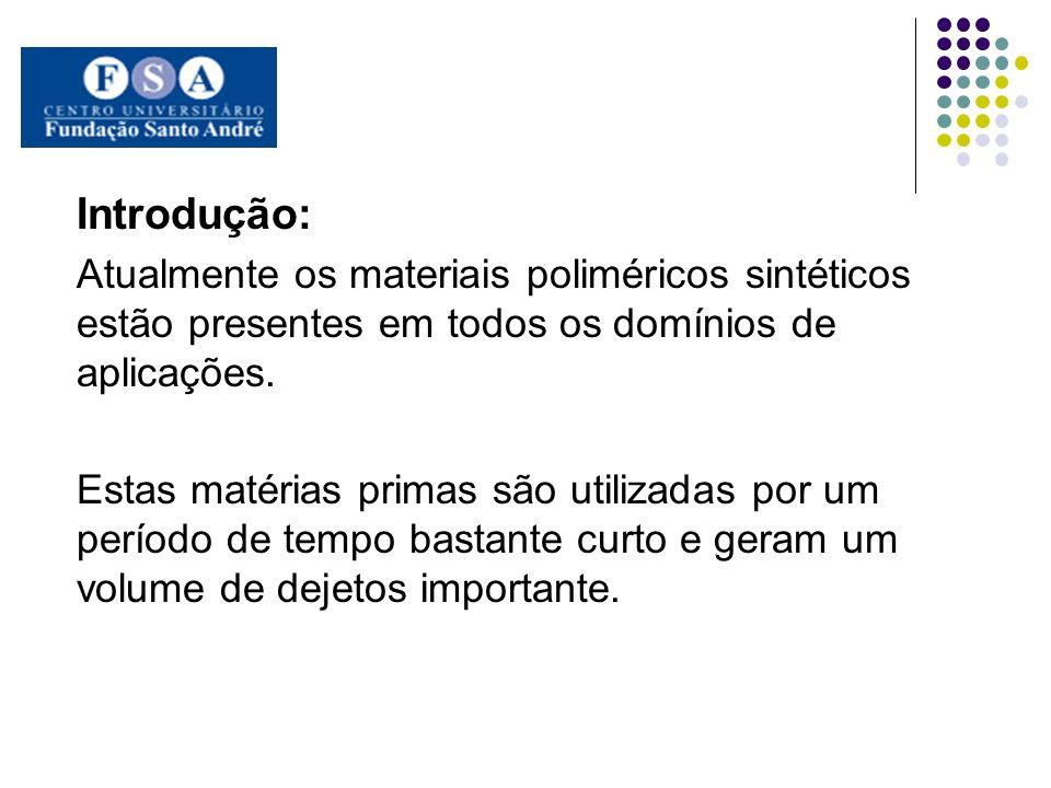Introdução: Atualmente os materiais poliméricos sintéticos estão presentes em todos os domínios de aplicações. Estas matérias primas são utilizadas po