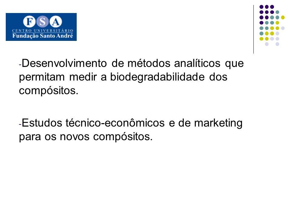 - Desenvolvimento de métodos analíticos que permitam medir a biodegradabilidade dos compósitos. - Estudos técnico-econômicos e de marketing para os no
