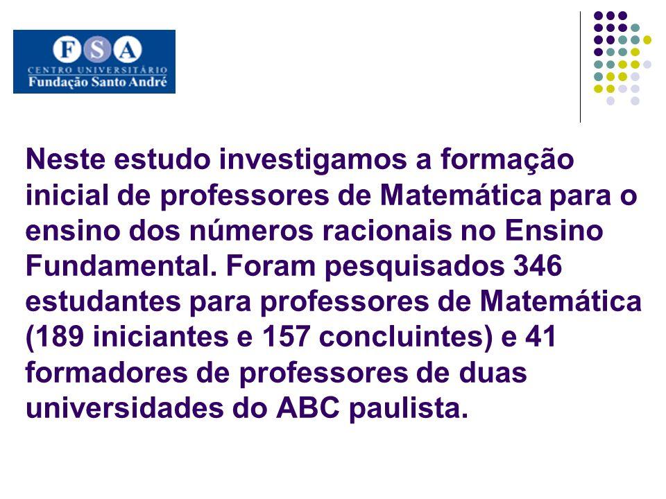 Neste estudo investigamos a formação inicial de professores de Matemática para o ensino dos números racionais no Ensino Fundamental. Foram pesquisados