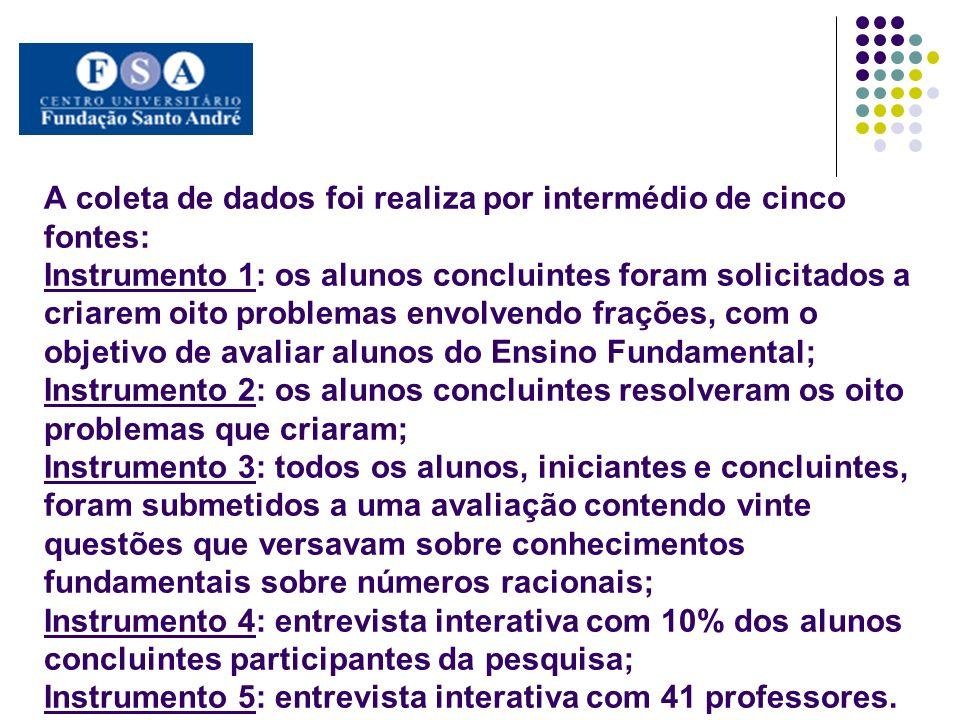 A coleta de dados foi realiza por intermédio de cinco fontes: Instrumento 1: os alunos concluintes foram solicitados a criarem oito problemas envolven