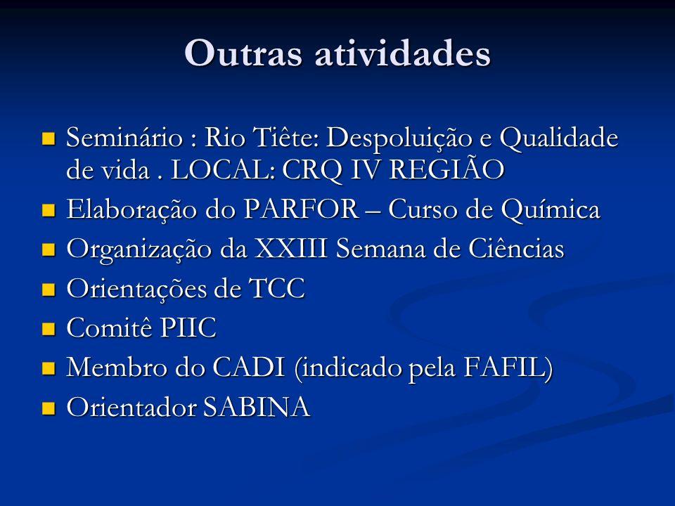 Outras atividades Seminário : Rio Tiête: Despoluição e Qualidade de vida. LOCAL: CRQ IV REGIÃO Seminário : Rio Tiête: Despoluição e Qualidade de vida.