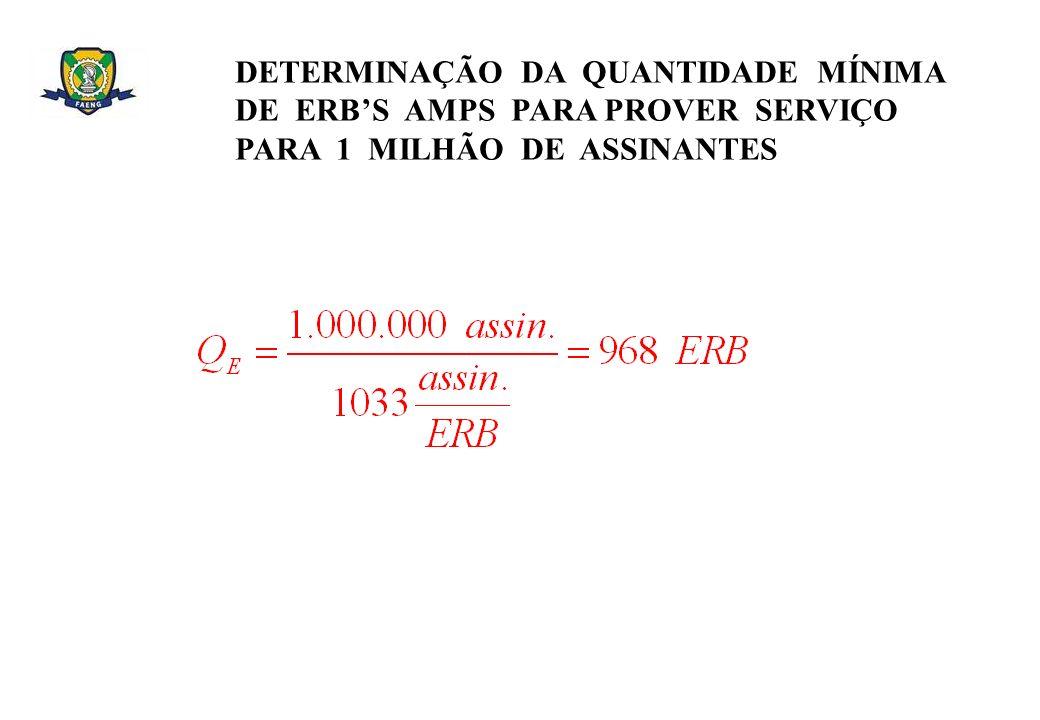 DETERMINAÇÃO DA QUANTIDADE MÍNIMA DE ERBS AMPS PARA PROVER SERVIÇO PARA 1 MILHÃO DE ASSINANTES