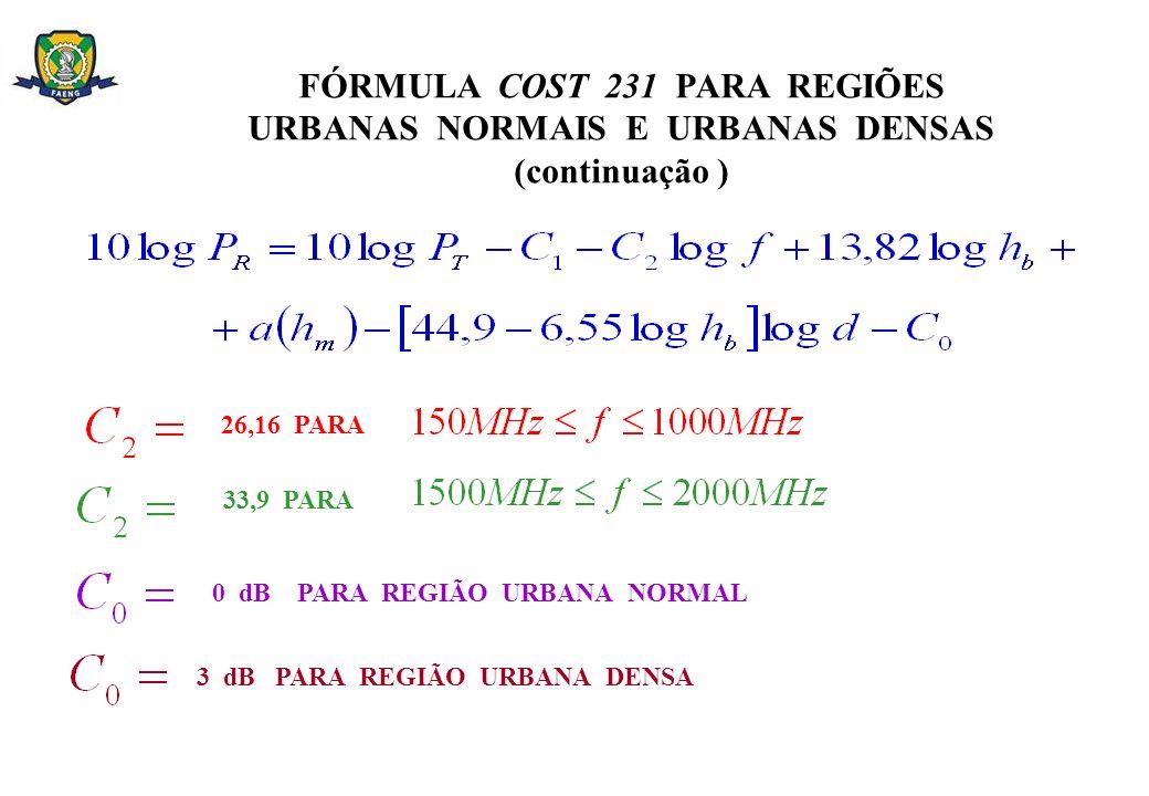 FÓRMULA COST 231 PARA REGIÕES URBANAS NORMAIS E URBANAS DENSAS (continuação ) 26,16 PARA 33,9 PARA 0 dB PARA REGIÃO URBANA NORMAL 3 dB PARA REGIÃO URB