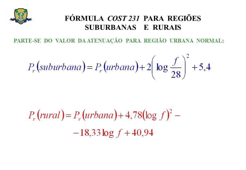 FÓRMULA COST 231 PARA REGIÕES SUBURBANAS E RURAIS PARTE-SE DO VALOR DA ATENUAÇÃO PARA REGIÃO URBANA NORMAL: