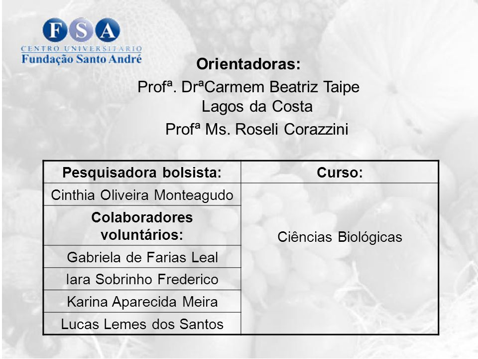 Orientadoras: Profª.DrªCarmem Beatriz Taipe Lagos da Costa Profª Ms.