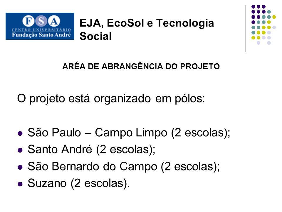 EJA, EcoSol e Tecnologia Social ARÉA DE ABRANGÊNCIA DO PROJETO O projeto está organizado em pólos: São Paulo – Campo Limpo (2 escolas); Santo André (2