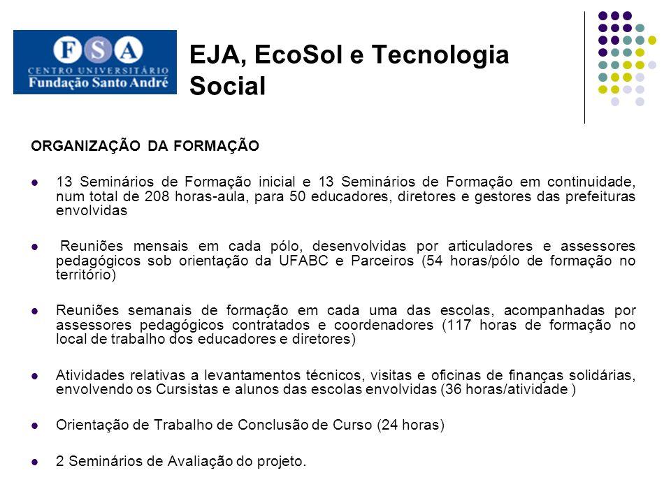 EJA, EcoSol e Tecnologia Social ORGANIZAÇÃO DA FORMAÇÃO 13 Seminários de Formação inicial e 13 Seminários de Formação em continuidade, num total de 20