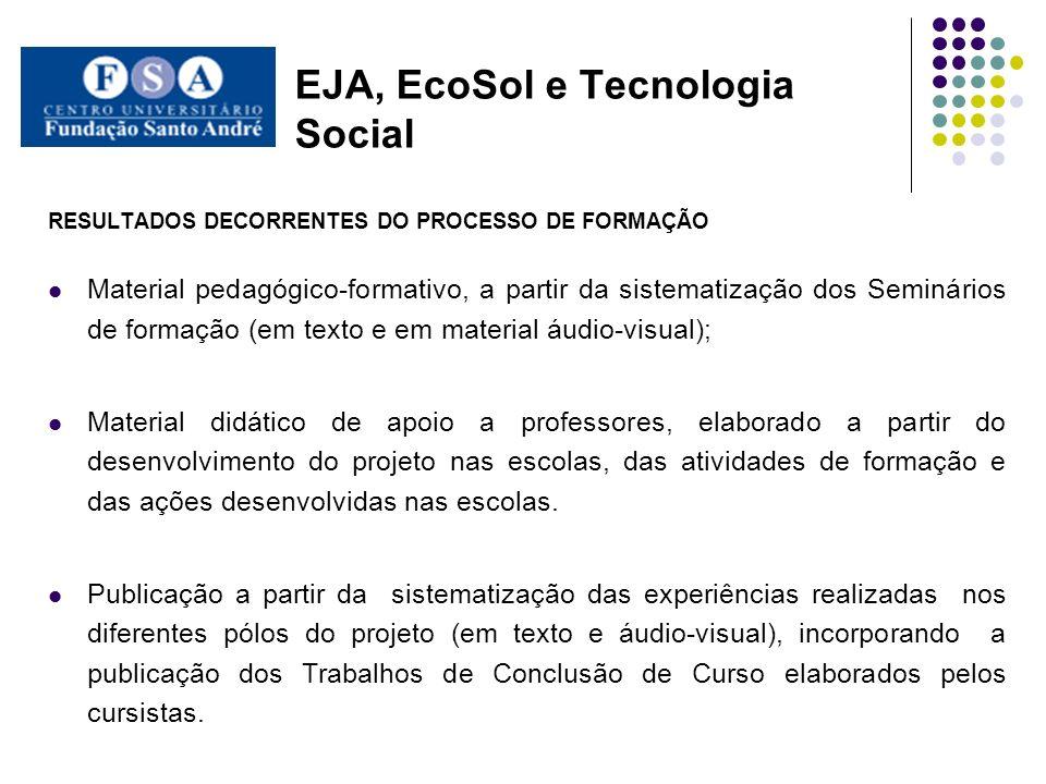 EJA, EcoSol e Tecnologia Social RESULTADOS DECORRENTES DO PROCESSO DE FORMAÇÃO Material pedagógico-formativo, a partir da sistematização dos Seminário