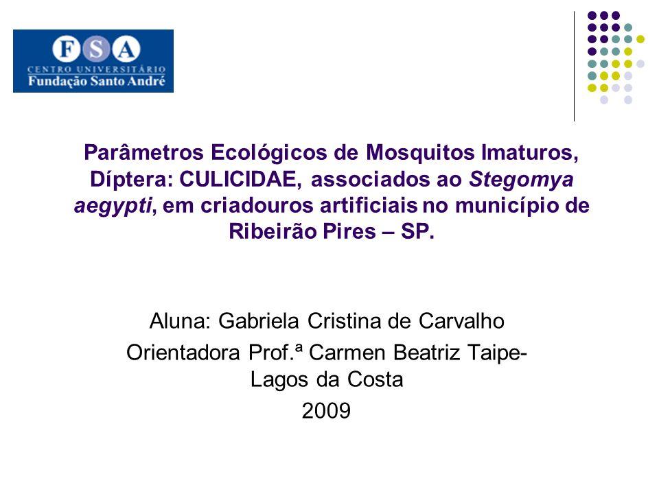 Parâmetros Ecológicos de Mosquitos Imaturos, Díptera: CULICIDAE, associados ao Stegomya aegypti, em criadouros artificiais no município de Ribeirão Pi