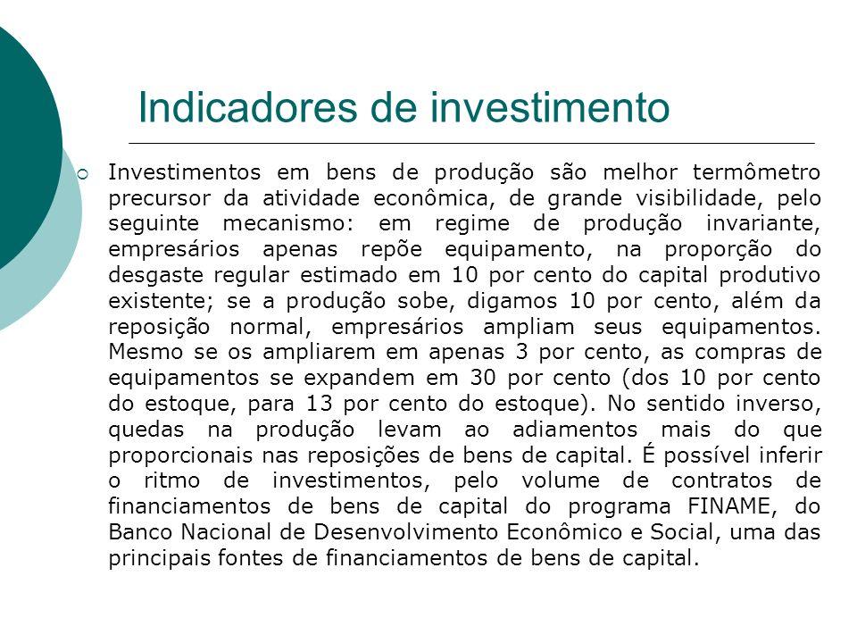 Indicadores de investimento Investimentos em bens de produção são melhor termômetro precursor da atividade econômica, de grande visibilidade, pelo seg