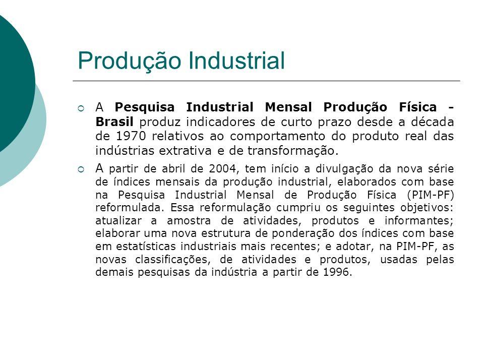 Produção Industrial A Pesquisa Industrial Mensal Produção Física - Brasil produz indicadores de curto prazo desde a década de 1970 relativos ao compor