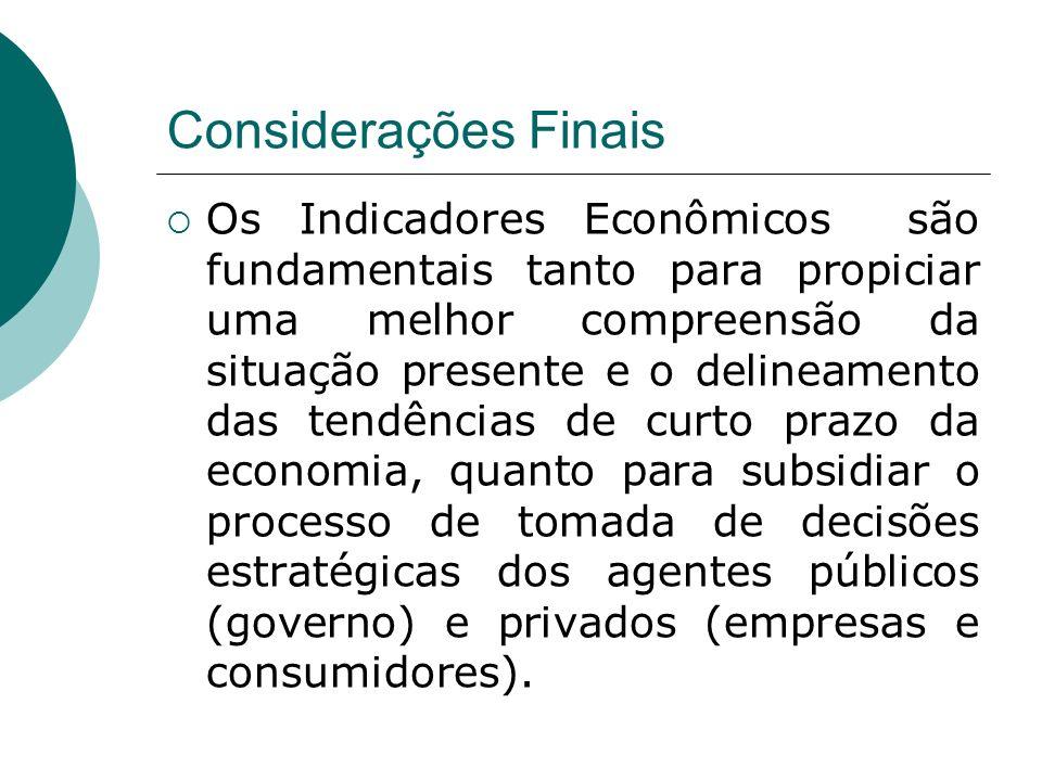 Considerações Finais Os Indicadores Econômicos são fundamentais tanto para propiciar uma melhor compreensão da situação presente e o delineamento das
