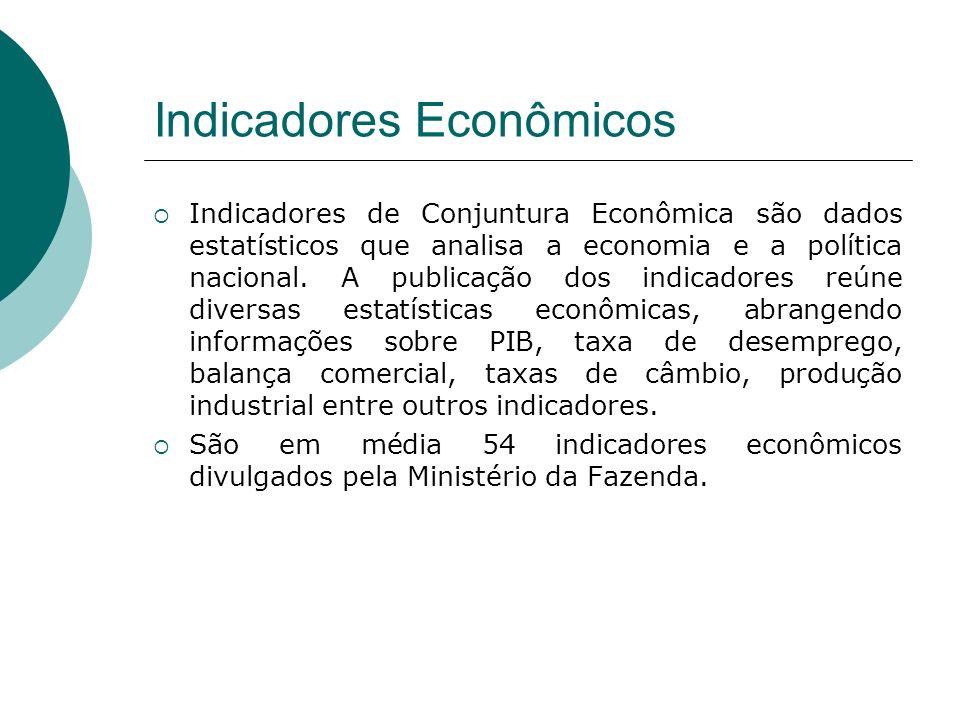 Indicadores Econômicos Indicadores de Conjuntura Econômica são dados estatísticos que analisa a economia e a política nacional. A publicação dos indic