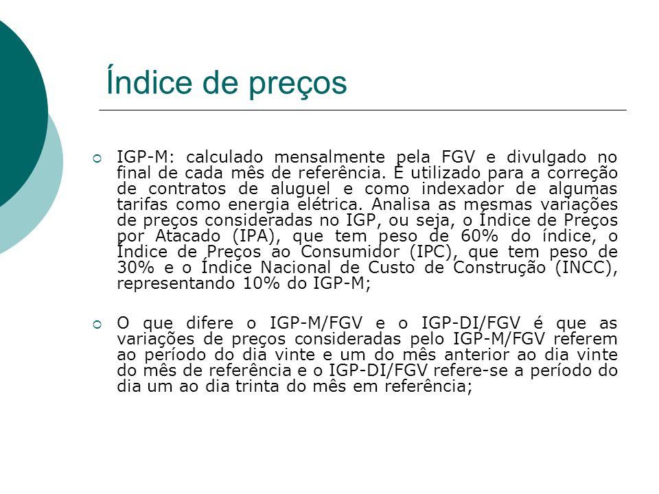 IGP-M: calculado mensalmente pela FGV e divulgado no final de cada mês de referência. È utilizado para a correção de contratos de aluguel e como index