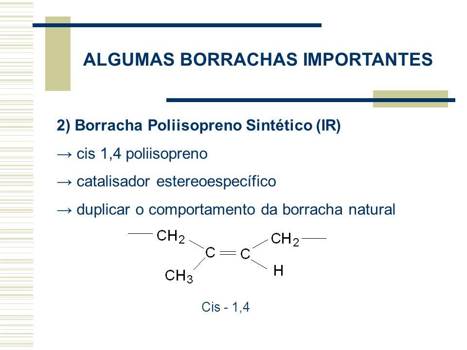 3) Polibutadieno (BR) Obtido a partir de catalisadores estereoespecíficos A maioria dos polibutadienos são do tipo cis 1,4 Facilmente vulcanizado com enxofre Normalmente é utilizado com carga