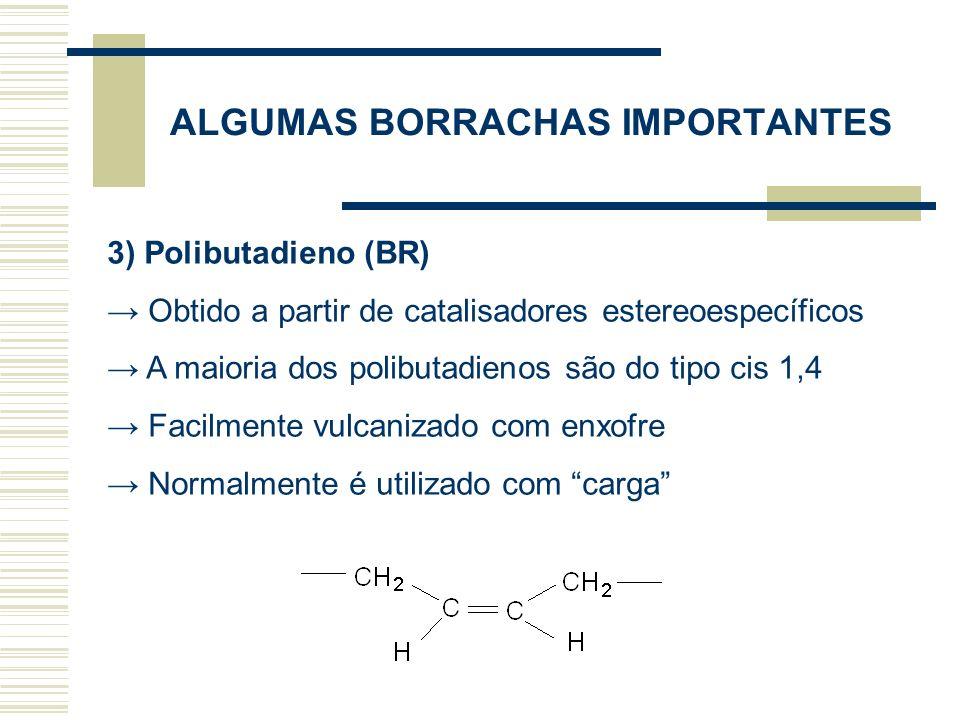 3) Polibutadieno (BR) Obtido a partir de catalisadores estereoespecíficos A maioria dos polibutadienos são do tipo cis 1,4 Facilmente vulcanizado com