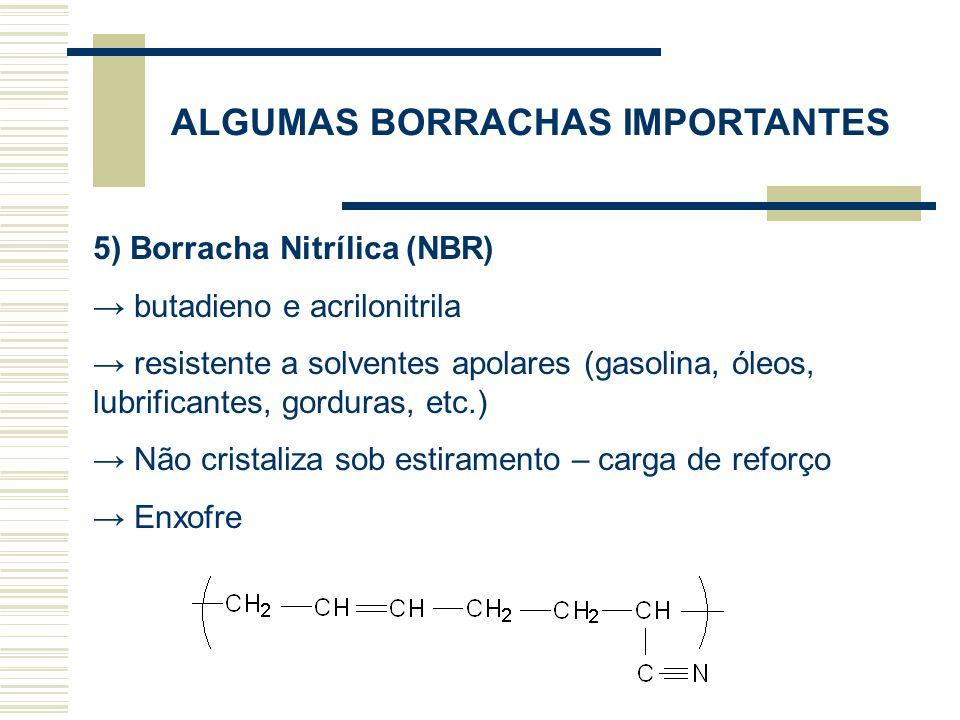 ALGUMAS BORRACHAS IMPORTANTES 6) Borrachas de Cloropreno (CR) Policloropreno (trans 1,4 policloropreno ou clorobutadieno) Catalisador é um metal ou óxido metálico Estrutura regular – cadeias cristalizam sob estiramento Alta resistência a tração