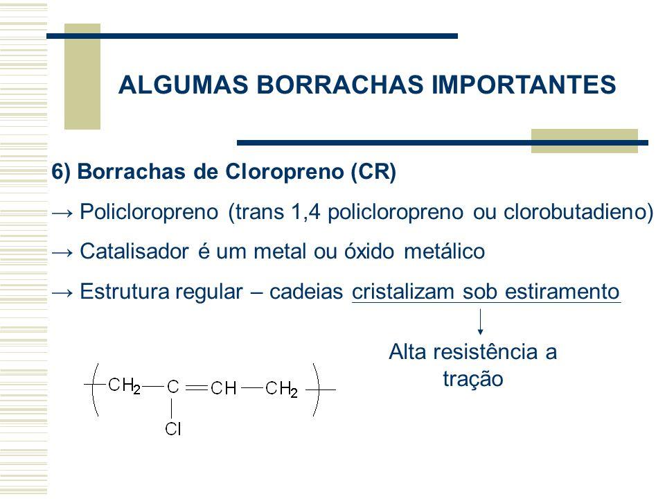 ALGUMAS BORRACHAS IMPORTANTES 6) Borrachas de Cloropreno (CR) Policloropreno (trans 1,4 policloropreno ou clorobutadieno) Catalisador é um metal ou óx