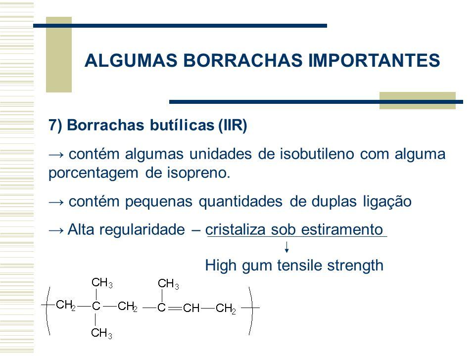 ALGUMAS BORRACHAS IMPORTANTES 8) Borrachas de Etileno-Propileno (EPM ou EPDM) copolímeros contém somente uma pequena ou nenhuma insaturação Estrutura randômica – não cristaliza sob estiramento Carga de reforço Alta resistência