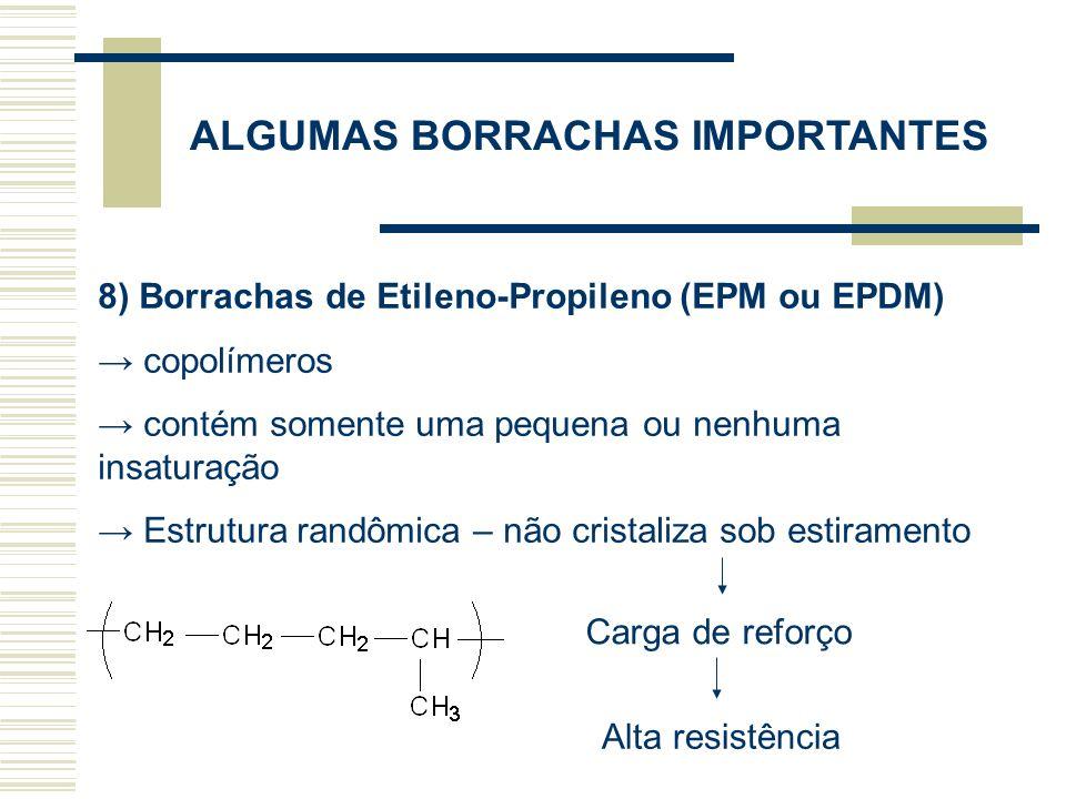 ALGUMAS BORRACHAS IMPORTANTES 8) Borrachas de Etileno-Propileno (EPM ou EPDM) copolímeros contém somente uma pequena ou nenhuma insaturação Estrutura