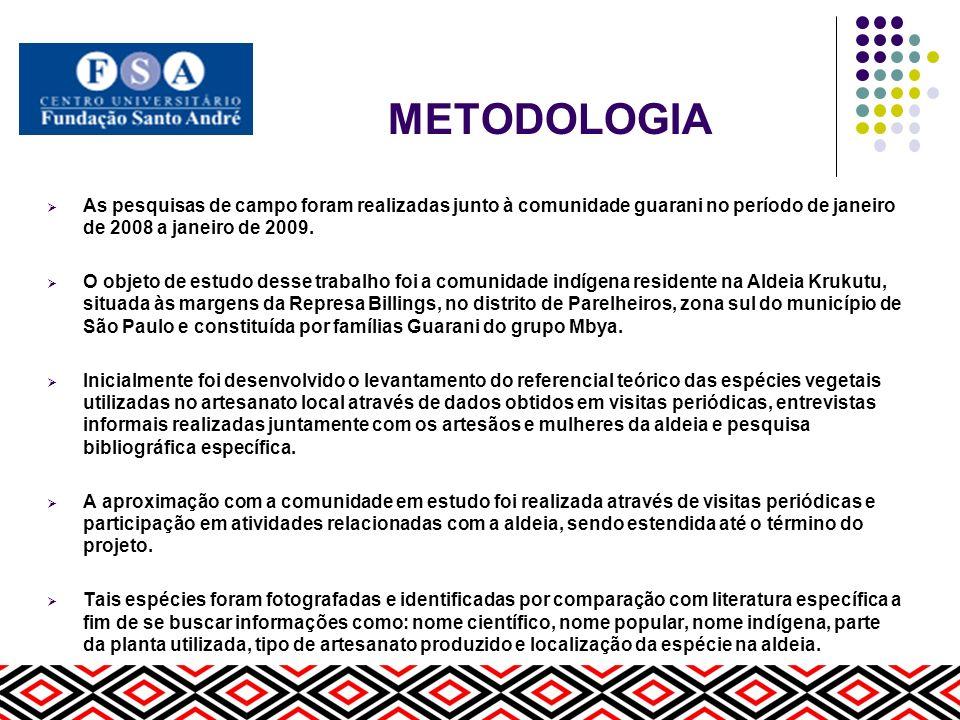 METODOLOGIA As pesquisas de campo foram realizadas junto à comunidade guarani no período de janeiro de 2008 a janeiro de 2009. O objeto de estudo dess