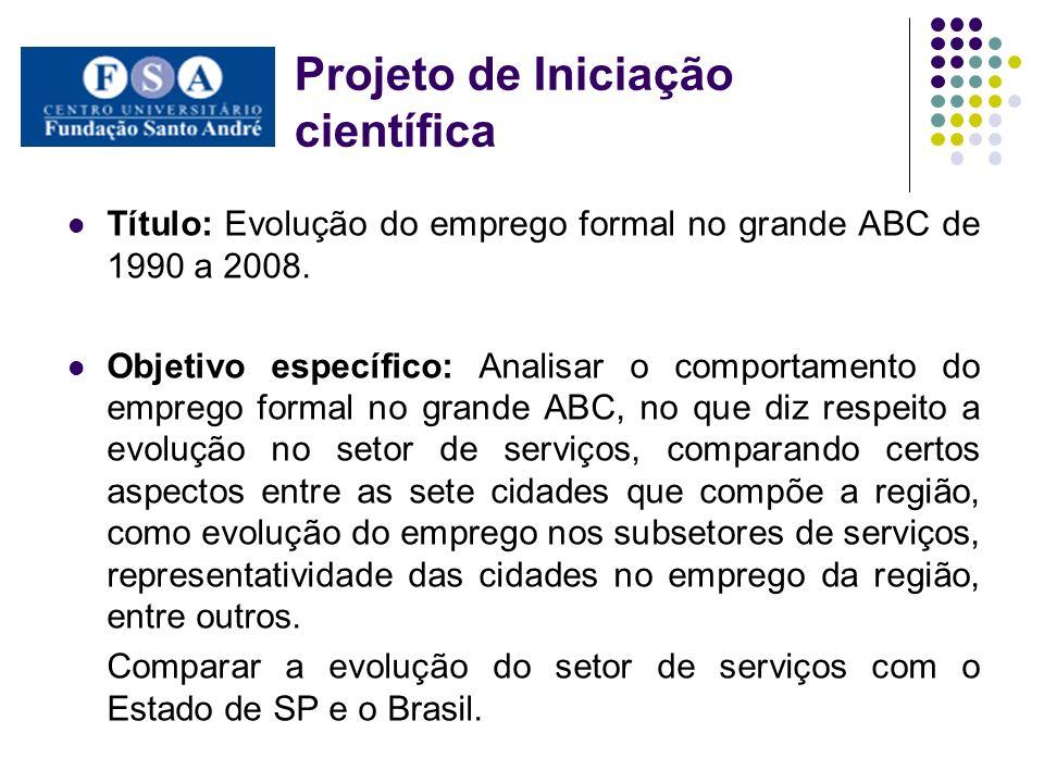 Projeto de Iniciação científica Título: Evolução do emprego formal no grande ABC de 1990 a 2008. Objetivo específico: Analisar o comportamento do empr