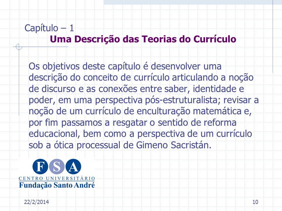 22/2/201410 Capítulo – 1 Uma Descrição das Teorias do Currículo Os objetivos deste capítulo é desenvolver uma descrição do conceito de currículo artic