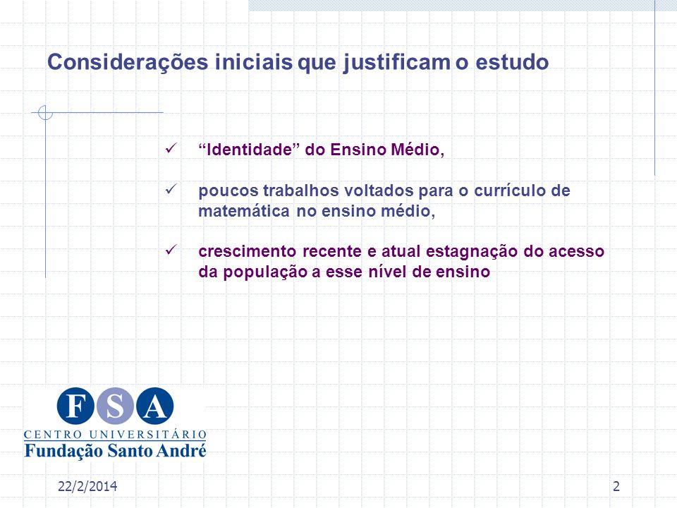 22/2/20142 Considerações iniciais que justificam o estudo Identidade do Ensino Médio, poucos trabalhos voltados para o currículo de matemática no ensi