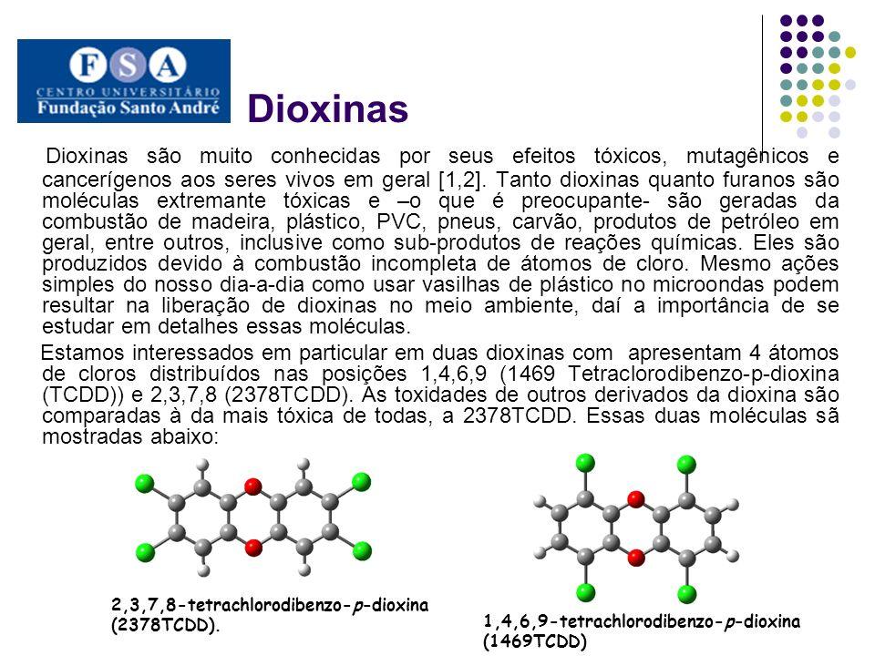 Dioxinas Dioxinas são muito conhecidas por seus efeitos tóxicos, mutagênicos e cancerígenos aos seres vivos em geral [1,2]. Tanto dioxinas quanto fura