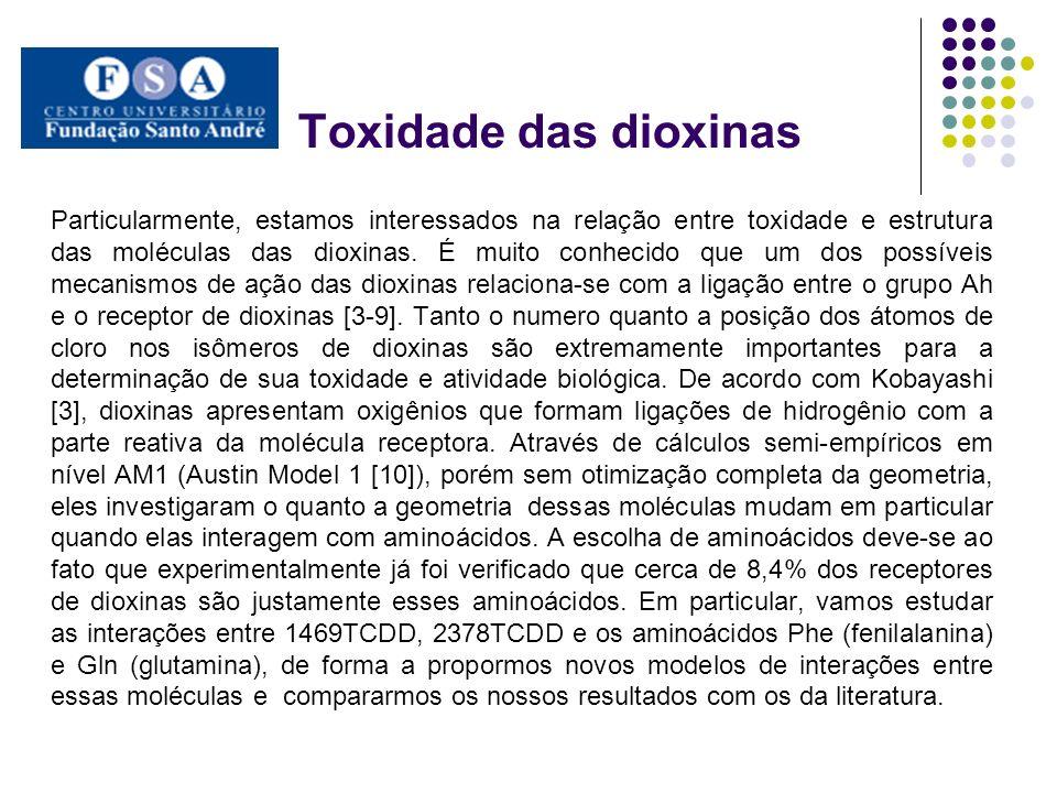 Particularmente, estamos interessados na relação entre toxidade e estrutura das moléculas das dioxinas. É muito conhecido que um dos possíveis mecanis