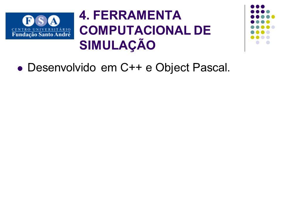 4. FERRAMENTA COMPUTACIONAL DE SIMULAÇÃO Desenvolvido em C++ e Object Pascal.