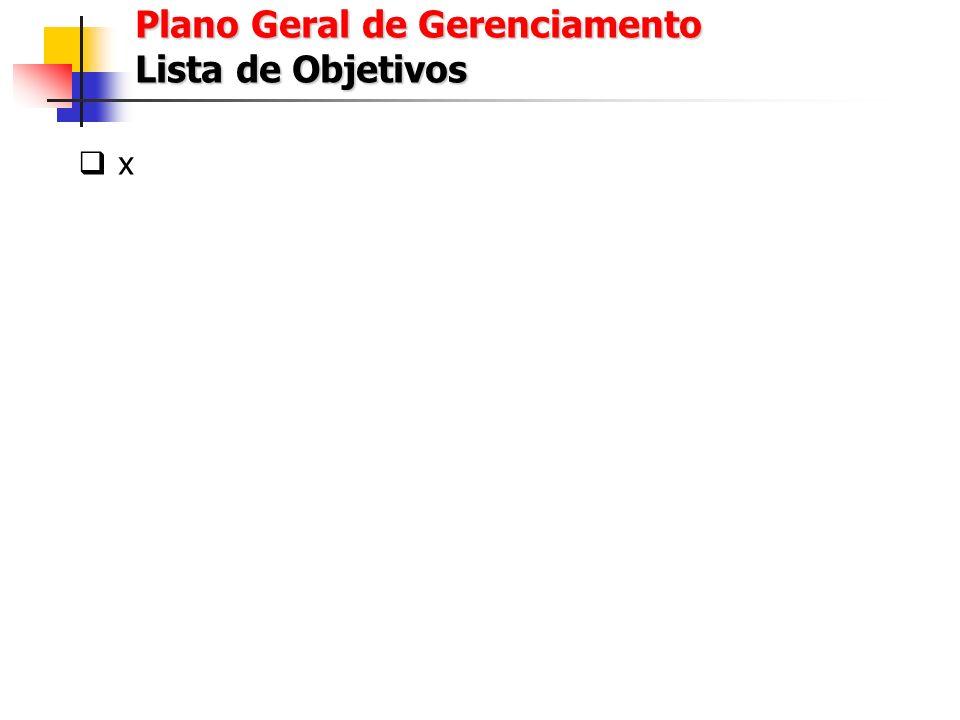 x Plano Geral de Gerenciamento Cronograma