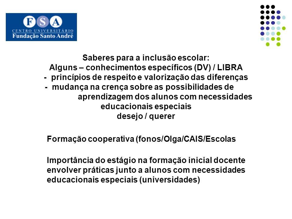 Saberes para a inclusão escolar: Alguns – conhecimentos específicos (DV) / LIBRA - princípios de respeito e valorização das diferenças - mudança na cr