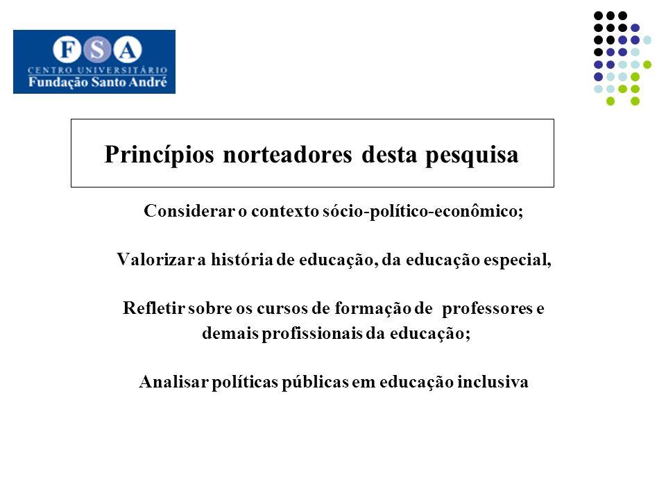Princípios norteadores desta pesquisa Considerar o contexto sócio-político-econômico; Valorizar a história de educação, da educação especial, Refletir