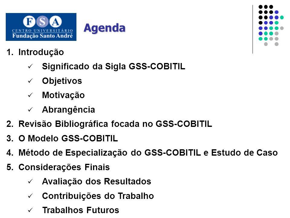 1.Introdução Significado da Sigla GSS-COBITIL Objetivos Motivação Abrangência 2.Revisão Bibliográfica focada no GSS-COBITIL 3.O Modelo GSS-COBITIL 4.M