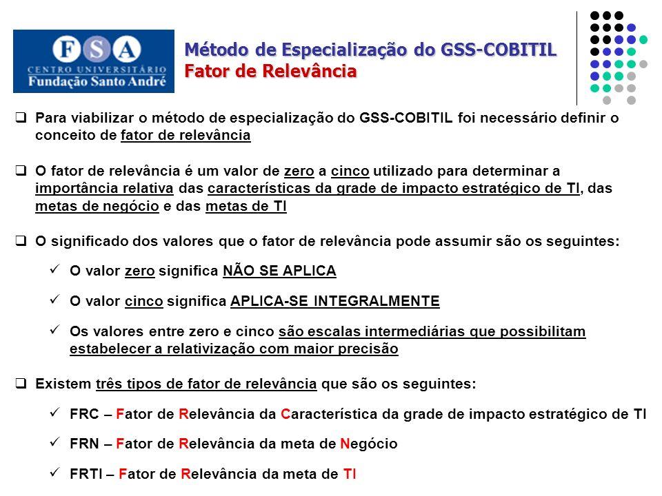 Fator de Relevância Para viabilizar o método de especialização do GSS-COBITIL foi necessário definir o conceito de fator de relevância O fator de rele