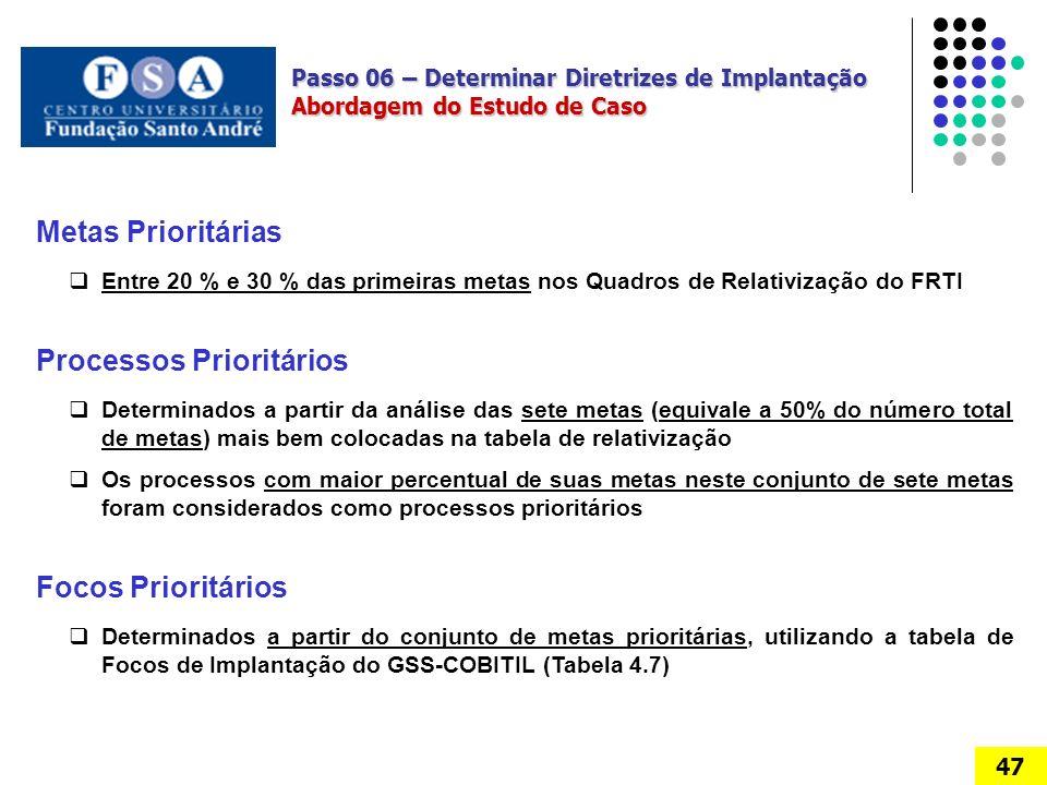 Passo 06 – Determinar Diretrizes de Implantação Abordagem do Estudo de Caso 47 Metas Prioritárias Entre 20 % e 30 % das primeiras metas nos Quadros de Relativização do FRTI Processos Prioritários Determinados a partir da análise das sete metas (equivale a 50% do número total de metas) mais bem colocadas na tabela de relativização Os processos com maior percentual de suas metas neste conjunto de sete metas foram considerados como processos prioritários Focos Prioritários Determinados a partir do conjunto de metas prioritárias, utilizando a tabela de Focos de Implantação do GSS-COBITIL (Tabela 4.7)