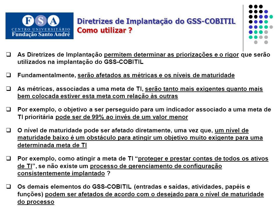 As Diretrizes de Implantação permitem determinar as priorizações e o rigor que serão utilizados na implantação do GSS-COBITIL Fundamentalmente, serão